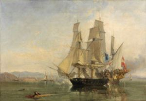 The Capture of El Gamo spanish treasure ship by the Dover built 3 masted brig, Speedy.