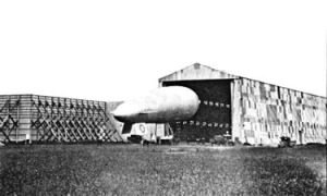 Airship shed at Capel Aerodrome and an SS12 airship. Dover Transport Museum DTMuseum