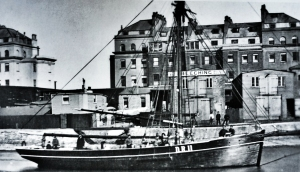 Beeching shipbuilders, Wellington Dock with Dover Fishing smack DR 11, Surpise nearer to the camera. Dover Library