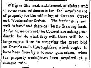 Biggin Street and Cannon Street widening, financial settlements to former retailers. September 1892