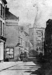 Biggin Street pre 1895 showing narrowness before widening. Dover Library
