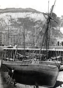 Boat building - Smack Forget-me-Knot, Tidal basin built 1883. Dover Museum