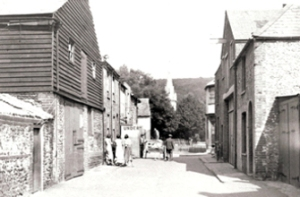 Caroline Place looking towards the timberyard. Dover Library