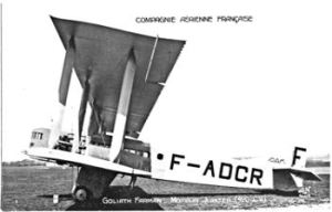 Compagnie Aérienne Française Farman F.60 Goliath airliner F-ADCR. Wikimedia Commons