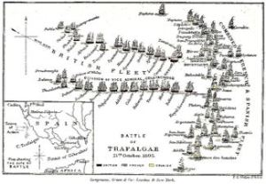 Contemporary Map showing the strategy of the Battle of Trafalgar 21 October 1805. Wikimedia