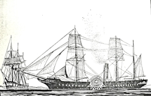 Early steamship and a fully rigged sailing ship of early 19th century. Frank E Dobson