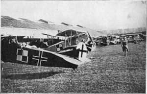 A collection of German Planes awaiting to do battle from The People's War Book (1919) Wikimedia