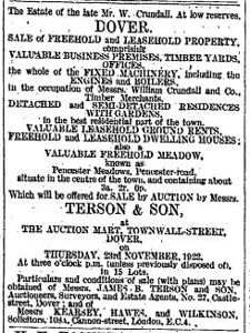 Pencester Meadow put for auction advert November 1922