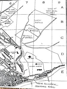 Schematic Map showing location of Moat Bulwark Seaplane Base & Guston Airfield