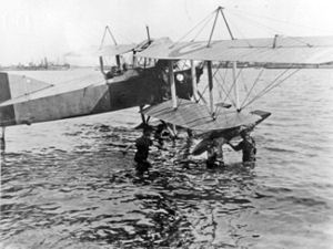 Seaplane being prepared for attack. Note the new RAF logo on the wing. Dover Museum