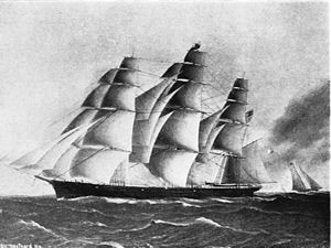 A typical Clipper - the Westward-Ho in 1852. State Street Trust Company, Boston, Massachusetts. Wikimedia