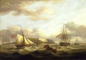 Cutter passing astern of a frigate. Thomas Luny 1759-1837. Greenwich Maritime Museum