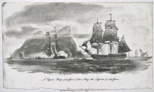 Espoir sloop of 14guns with the Liguria of 44guns by Nicholas Pocock Published by Bunney & Gold 1801 Wikimedia