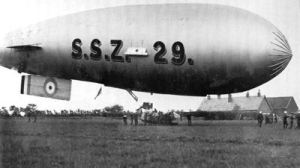 SSZ airship. Successful modification of SS airship by Capel engineers. Folkestone Library