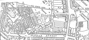 Map (c1900) of the Stembrook area, showing the tanyard site, Castle Street, Caroline Place and Dieu Stone Lane. The eastern area of the site is the part Dover Corporation purchased using a Compulsory Order.