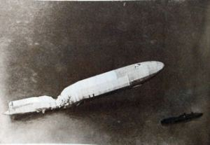 Zeppelin brought down in August 1915 by Dover Anti-Aircraft guns courtesy of Doyle collection