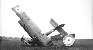 Crashed plane at Guston Airfield. Dover Museum