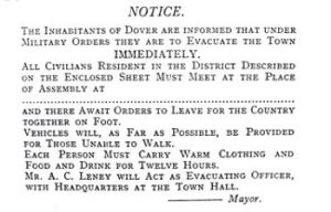 Evacuation Notice issued late 1914 by orders of Brigadier-General Crampton. LS
