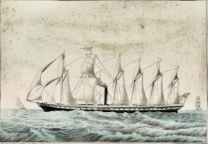 Isambard Brunel's screw propeller steam ship Great Britain launched 1843. Library of Congress
