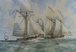 TH Privateer Bury Air from Dublin bound to London taken by hired armed cutter Dover by Patrick Donavan. Michael Sharp