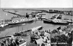 Western Docks c1910 Wellington Dock in front, behind and to the left Tidal basin, Granville Dock on the right and Prince of Wales and Admiralty Pier beyond. Dover Museum