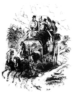 19th century stagecoach drawn by Phiz for the novel David Copperfield by Charles Dickens. Wikimedia