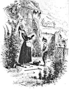 Betsey Trotwood outside her cottage on Western Heights on David's arrival. Etching by Phiz for David Copperfield 1849. Wikimedia