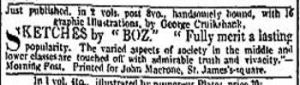Charles Dickens Advert in the Times of 21.03.1836 for Sketches by Boz published by John Macrone, St James Square, London