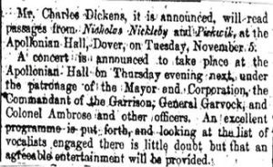 Charles Dickens advert that he is to speak at the Apollonian Hall Snargate Street. Dover Express 10.10.1861
