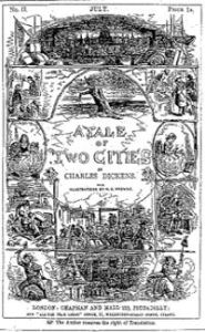 Cover by Phiz - Hablot Knight Browne - for Charles Dickens A Tale of Two Cities, published in All the Year Round July 1859. Wikimedia