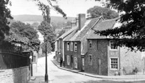 River paperworkers cottages with River paper mill on left Minnis Lane c1880. Dover Library