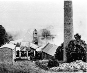 Crabble Paper Mill at time of fire 10 July 1896. Dover Museum