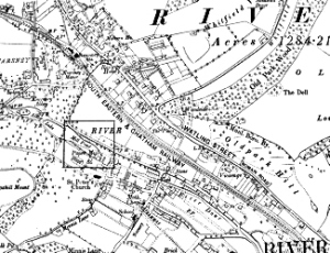 Map of River - highlighting the River Paper Mill c1890