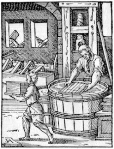 Papermaker Woodcut from Jost Amman (1539-1591). Wikimedia