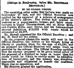 River and Crabble paper mills - Official Receivers report following Filmer Phipps bankruptcy 17.09.1888
