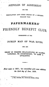 River Paper Mill Articles of Agreement of the Benefit Club 1838. Dover Library
