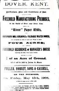 River Paper Mill Auction 15 May 1908. Dover Library