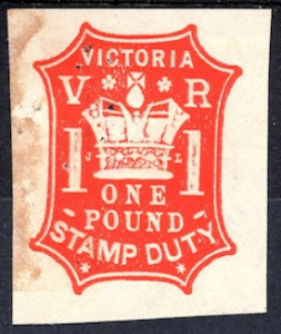 Victorian £1 stamp duty paid endorsement 1879. Wikimedia