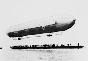 First Zeppelin ascent on July 2, 1900. Library of Congress Wikimedia