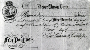 £5 note drawn on Latham's Dover Union Bank c1830 - note the watermark. David Ryeland
