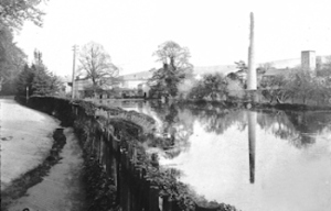 River Paper Mill Chimney and River Dour c1900 from Kearsney - Budge Adams collection Museum