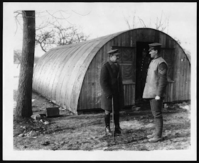 An example of a Nissen hut, this one was used in France c1918. National Library of Scotland Wikimedia