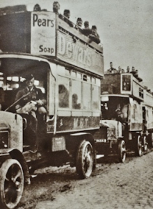 WWI - London Buses taking fresh troops from Calais to the Front Line 1914. Eveline Larder