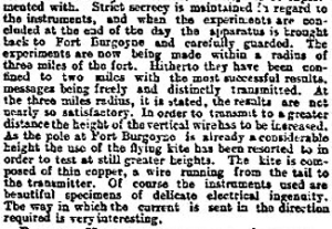 GPO Dover Wireless Experiements using Marconi instruments. Times 13 October 1897