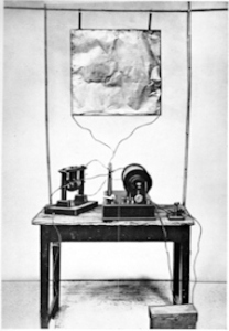 Marconi's first radio transmitter built in August 1895. Wikimedia