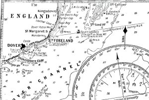 1930s Chart showing Dover, South Foreland, and the South Goodwin lightvessel close by the South Sands Head - the location of the former South Sands Head lightvessel. When Marconi was doing his experiments in 1899 the South Goodwin lightship was where the South Goodwin buoy is located on the chart