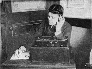 An operator receiving wireless telegraphy message using a Marconi magnetic detector. Archie Frederick Collins 1905. Wikimedia