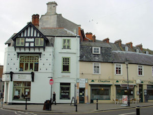 Church Street showing Dicken's corner and the Wilkins retained individual building styles. Alan Sencicle