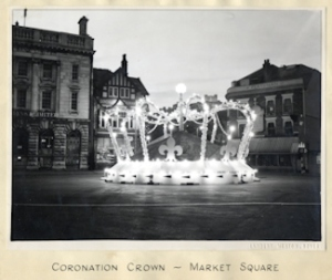 Coronation Crown in Market Square 2 June 1953. Dover Museum