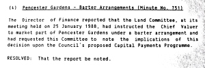DDC Finance Committee minutes - Pencester Gardens to be sold by lease back barter arrangement. 9 February 1988